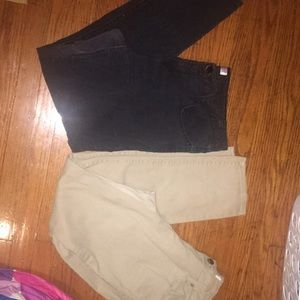 Pants - A pair of tan pants & A pair of black washed jeans